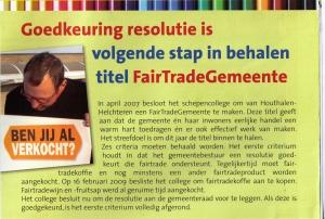 Mijn gemeente Houthalen binnenkort ook FairTradeGemeente !?