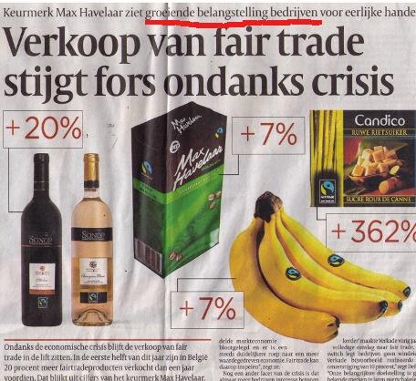verkoop van fair trade stijgt fors ondanks crisis, dankzij interesse bedrijven