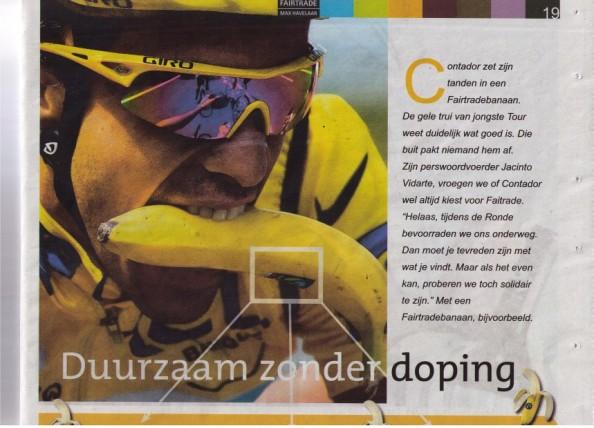 Alberto Contador wint de Tour op fairtradebananen: duurzaam zonder doping