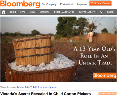 "bekijk de video ""Victoria's Secret Revealed in Child Cotton Pickers"" nu op Bloomberg TV"