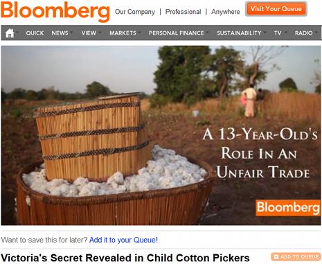 """bekijk de video """"Victoria's Secret Revealed in Child Cotton Pickers"""" nu op Bloomberg TV"""