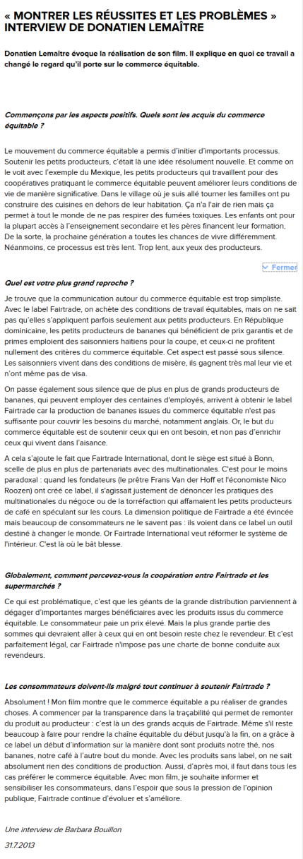 SCHERMAFDRUK VAN DE REACTIE OP DE REPORTAGE