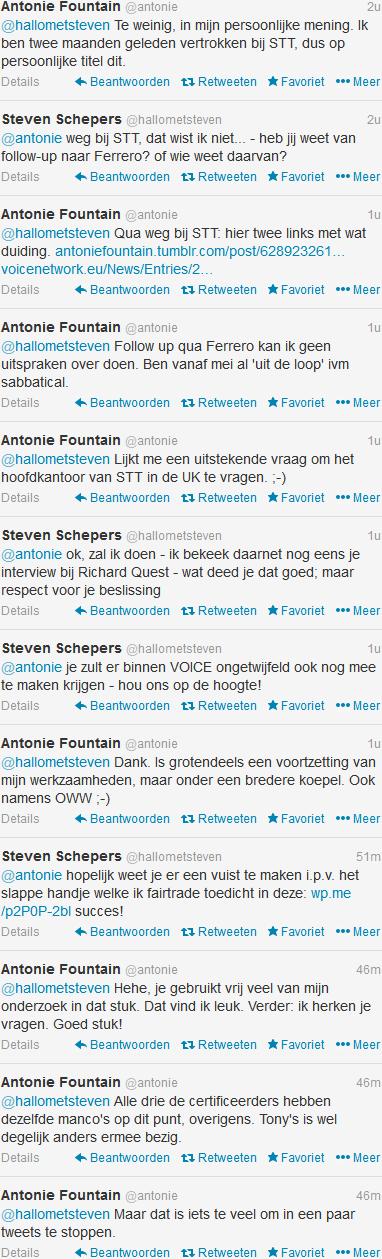 TWITTERGESPREK TUSSEN @ANTONIE en @HALLOMETSTEVEN