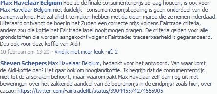 MAX HAVELAAR ANTWOORDT VIA FACEBOOK