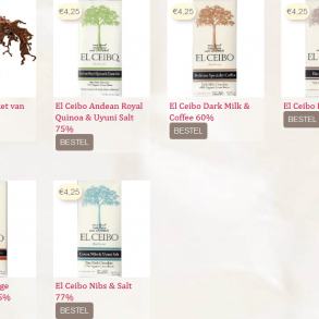 4,25 euro/80 gram - http://www.chocoweb.nl/producent/el-ceibo-3/
