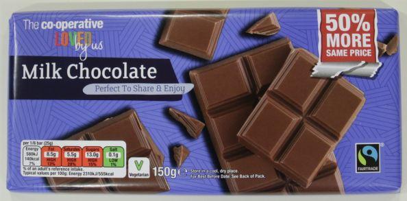 melkchocolade van de Co-op Supermarket