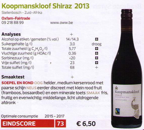 KOOPMANSKLOOF SHIRAZ 2013 OXFAM FAIR TRADE